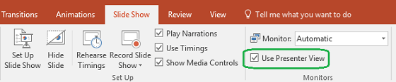 The Slide Show tab in PowerPoint has a check box to control whether Presenter View is used when you show a presentation to others.