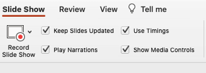 "The slide show tab of the ribbon showing ""Keep Slides Updated"" selected."